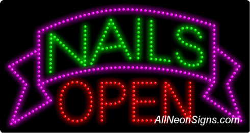 Nails Open LED Sign
