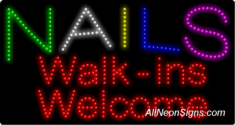Nails Walk-ins Welc. LED Sign