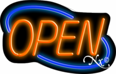 Neon Open Sign-Deco Style (Blue and Orange)-ASSEMBLED in the U.S.A