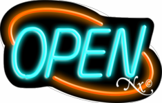 Aqua and Orange Neon Open Sign-Deco Style -ASSEMBLED in the U.S.A