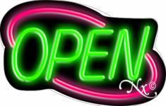 Pink and Green Neon Open Sign-Deco Style-Assembled in the U.S.A