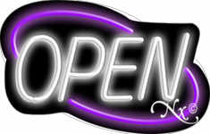 Purple and White Neon Open Sign-Deco Style -Assembled in the U.S.A