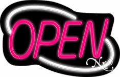 White and Pink Neon Open Sign-Deco Style-Assembled in the U.S.A