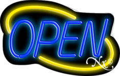 Yellow and Blue Neon Open Sign-Deco Style -Assembled in the U.S.A