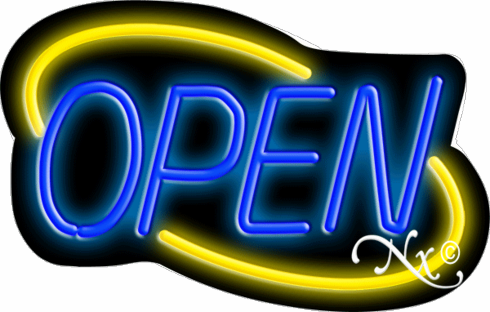 Yellow and Blue Neon Open Sign-Deco Style -Made in the U.S.A
