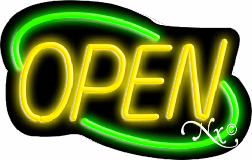 Green and Yellow Neon Open Sign-Deco Style-ASSEMBLED in the U.S.A