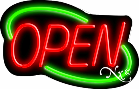 Red and Green Neon Open Sign-Deco Style-Assembled in the U.S.A