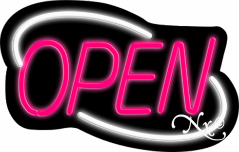 White and Pink Neon Open Sign-Deco Style-Made in the U.S.A