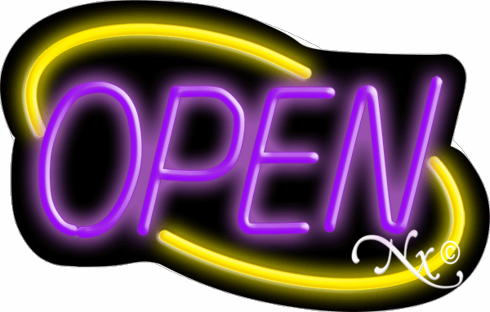 Yellow and Purple Neon Open Sign-Deco Style-Made in the U.S.A