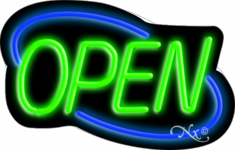 Blue and Green Neon Open Sign-Horizontal Style - Assembled in the U.S.A