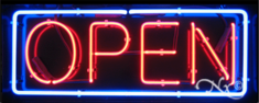 Blue and Red Neon Open Sign-Horizontal Style-Assembled in the U.S.A