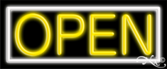 White and Yellow Neon Open Sign-Horizontal Style-Assembled in the U.S.A