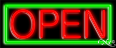 Green and Red Neon Open Sign-Horizontal Style-Assembled in the U.S.A