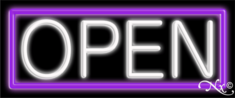 Purple and White Neon Open Sign-Horizontal Style -Assembled in the U.S.A