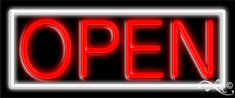 White and Red Neon Open Sign-Horizontal Style - Assembled in the U.S.A