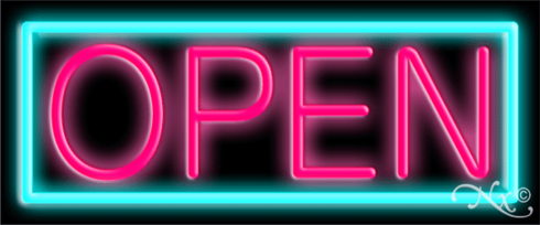Aqua and Pink Neon Open Sign-Horizontal Style-Assembled in the U.S.A