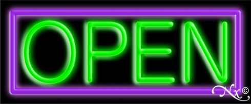 Purple and Green Neon Open Sign-Horizontal Style-Assembled in the U.S.A