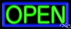 Blue and Green Neon Open Sign-Assembled in the U.S.A