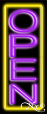 Yellow and Purple Neon Open Sign-Vertical Style-Assembled in the U.S.A