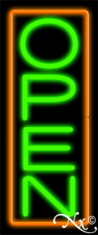 Orange and Green Neon Open Sign-Vertical Style - Assembled in the U.S.A
