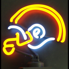 ORANGE AND WHITE FOOTBALL HELMET NEON SCULPTURE
