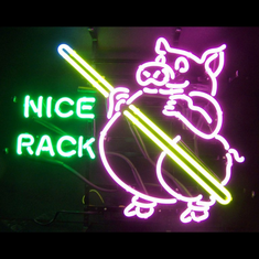 "PIG POOL ""NICE RACK"" NEON SIGN"