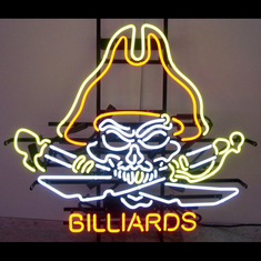 PIRATE SKULL BILLIARDS NEON SIGN