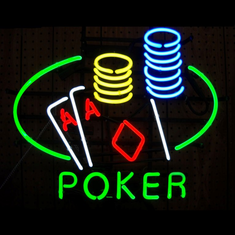 POKER DOUBLE ACES TABLE & CHIPS NEON SIGN