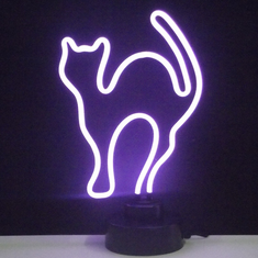 PURPLE CAT NEON SCULPTURE