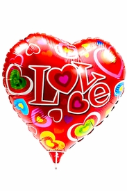 "20.8"" Mylar Heart Colorful Hearts Love Balloon - click to enlarge"