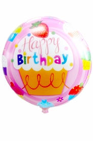 "20.8"" Mylar Pink Cupcake Round Happy Birthday Balloon - click to enlarge"