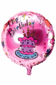 "20.8"" Mylar Pink Round Cake Happy Birthday Balloon - click to enlarge"