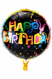 "20.8"" Mylar Round Black Rainbow Happy Birthday Balloon - click to enlarge"