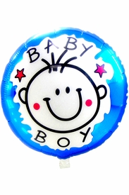 "20.8"" Mylar Round Blue Baby Shower Boy Balloon - click to enlarge"