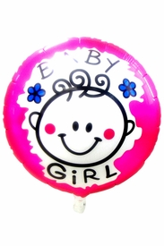 "20.8"" Mylar Round Pink Baby Shower Girl Balloon - click to enlarge"