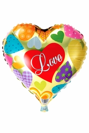 "20"" Mylar Gold Heart Love Balloon - click to enlarge"