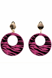 80's Pink Zebra Earrings - click to enlarge