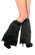 Adult Black Furry Legwarmers Fluffies