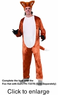Fox Adult Costume Jumpsuit  - Alternate View - click to Enlarge