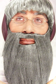 Full Long Beard and Mustache Combo - Gray - click to enlarge