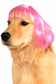 Hot Pink Short Bob Wig for Pets - click to enlarge