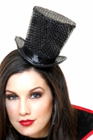 Mini Black Sequin Top Hat - click to enlarge