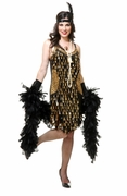 Mirror Drops Sequin Flapper Dress - Black & Gold