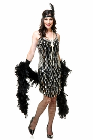 Mirror Drops Sequin Flapper Dress - Black & Silver - click to enlarge
