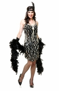 Mirror Drops Sequin Flapper Dress - Black & Silver