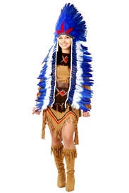 Native American Chief Headdress- Blue & White - click to enlarge