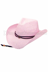Pink Straw Cowgirl Hat - click to enlarge