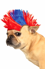 Red and Blue Mohawk Wig for Pets - click to enlarge