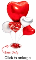 Red Heart-Shaped Balloon Centerpiece Base - Alternate View - click to Enlarge