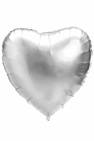 "Silver 18"" Heart Mylar Balloon - click to enlarge"